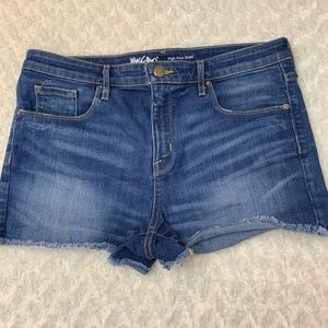 Mossimo High Rise Power Stretch Jean Shorts 12 31""